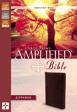 Book Amplified Zippered Collection Bible, Large Print, Bonded Leather, Burgundy by Zondervan