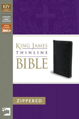 Book KJV, Thinline Zippered Collection Bible, Bonded Leather, Black, Red Letter Edition by Zondervan