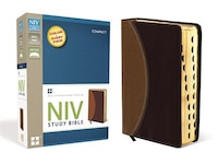 Niv Study Bible, Compact, Leathersoft, Tan/burgundy, Red Letter Edition, Thumb Indexed