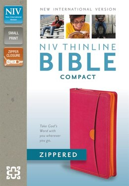 Book Niv, Thinline Zippered Collection Bible, Compact, Imitation Leather, Pink/orange, Red Letter Edition by Zondervan