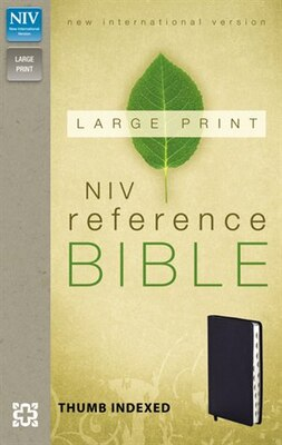 Book Niv, Reference Bible, Large Print, Imitation Leather, Navy, Indexed, Red Letter Edition by Zondervan