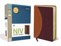NIV Study Bible, Compact, Imitation Leather, Tan/Burgundy, Red Letter Edition