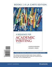 A Sequence For Academic Writing, Books A La Carte Edition