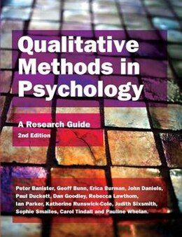 Book Qualitative Methods In Psychology: A Research Guide: A Research Guide by Peter Banister
