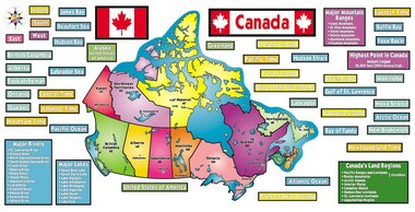 Complete Map Of Canada.Map Of Canada Bulletin Board Set