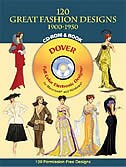 120 Great Fashion Designs, 1900-1950, CD-ROM and Book by Tom Tierney