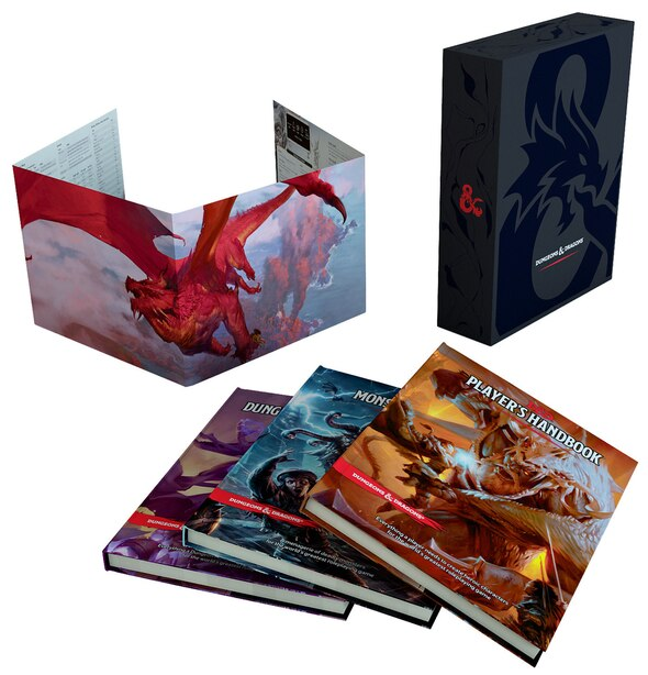 Dungeons & Dragons Core Rulebooks Gift Set (special Foil Covers Edition With Slipcase, Player's Handbook, Dungeon Master's Guide, Monster Manual, Dm Screen) by Wizards Rpg Team