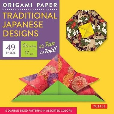 """Origami Paper - Traditional Japanese Designs - Small 6 3/4"""": Tuttle Origami Paper: 48 High-quality Origami Sheets Printed With 12 Different Patterns: Instructio by Periplus Editions"""