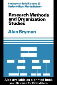 Research Methods And Organization Studies
