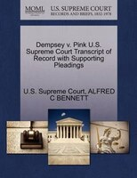 Dempsey V. Pink U.s. Supreme Court Transcript Of Record With Supporting Pleadings