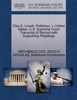 Cleo E. Lovett, Petitioner, V. United States. U.s. Supreme Court Transcript Of Record With…