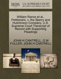 William Rance Et Al., Petitioners, V. The Sperry And Hutchinson Company. U.s. Supreme Court…