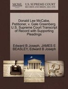 Donald Lee Mccabe, Petitioner, V. Gale Greenberg. U.s. Supreme Court Transcript Of Record With…