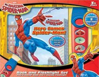Book BK & FLASHLIGHT HERE COMES SPIDERMAN by Marvel
