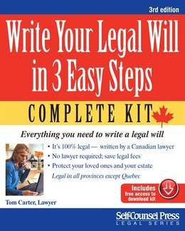 Book Write Your Legal Will In 3 Easy Steps - Can: Everything You Need To Write A Legal Will by Tom Carter