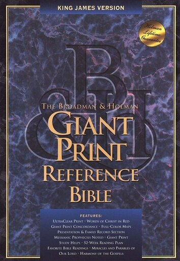 KJV GIANT PRINT REFERENCE BIBLE: Genuine Leather - Black