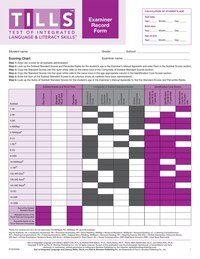 Test Of Integrated Language And Literacy Skills' (tills' ) Examiner Record Forms