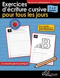 Exercices D'écriture Cursive Pour Tous Les Jours Grades 2-4