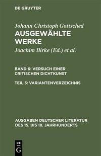 Variantenverzeichnis by Johann Christoph Gottsched