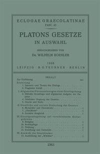 Platons Gesetze: In Auswahl by Wilhelm Koehler