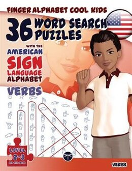 Book Finger Alphabet Cool KIDS - 36 Word Search Puzzles with The American Sign Language Alphabet - Verbs by Lassal