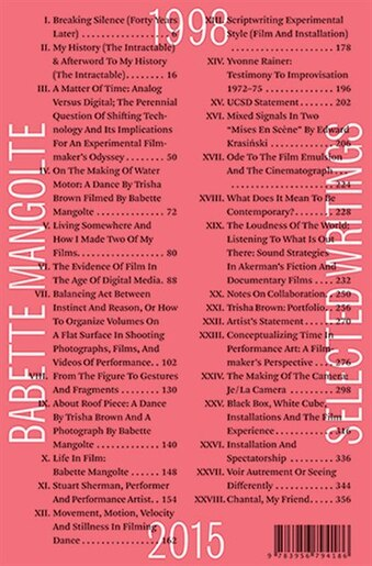 Selected Writings, 1998-2015: 1998-2015 by Babette Mangolte