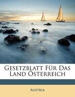Gesetzblatt Für Das Land Österreich