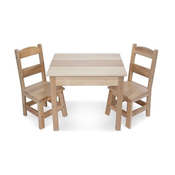 Melissa & DougEnsemble de table et 2 chaises en bois massif - Meubles de finition légère pour salle de jeux