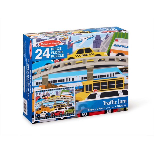 Melissa & Doug Traffic Jam Floor Puzzle 2'x3' 24 Piece Puzzle