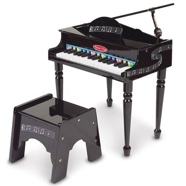 Melissa and Doug® Learn-To-Play Classic Grand Piano With 30 Keys, Color-Coded Songbook, and Non-Tip Bench