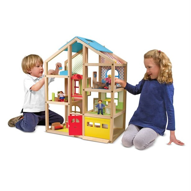 Melissa Doug Hi Rise Wooden Dollhouse With 15 Pcs Furniture Garage And Working Elevator
