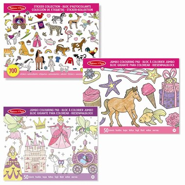 Melissa & Doug® Colouring and Sticker Book Pink Set of 3