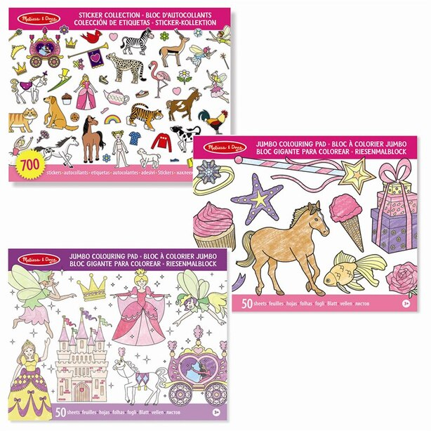 Melissa & Doug Colouring and Sticker Book Pink Set of 3