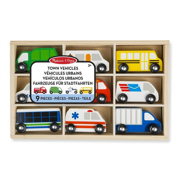 Melissa & Doug Wooden Vehicle Set Town