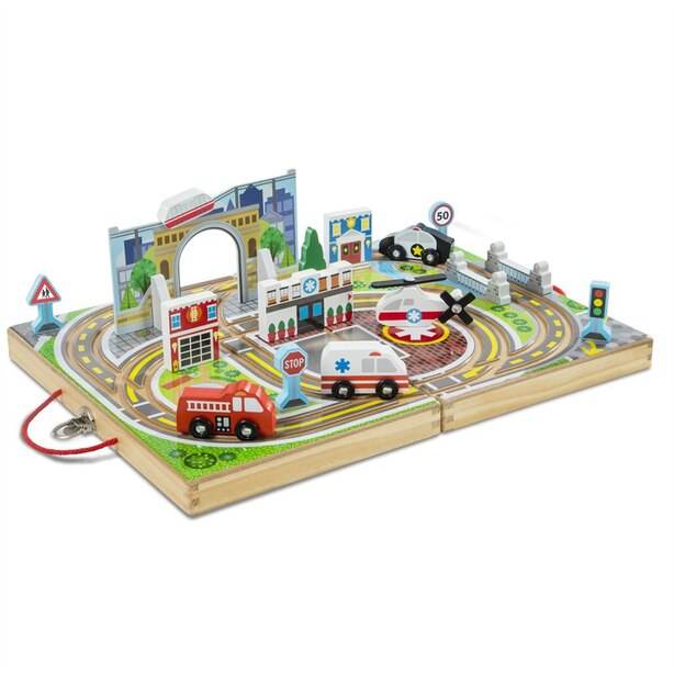 Melissa & Doug® Take-Along Tabletop Vehicle Set Town