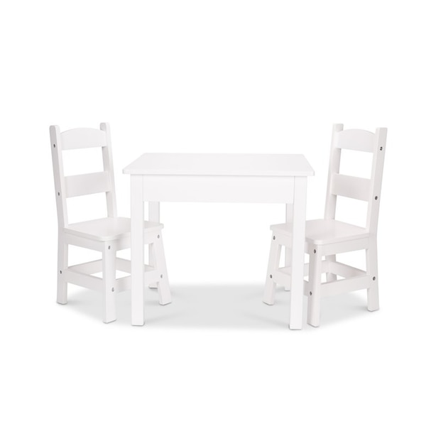 Melissa & Doug Wooden Table and Chairs Set White