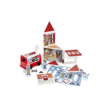 Melissa & Doug 74-Piece MAGNETIVITY Magnetic Building Play Set – Fire Station with Fire Truck Vehicle (13 Panels, 55 Accessory Magnets)