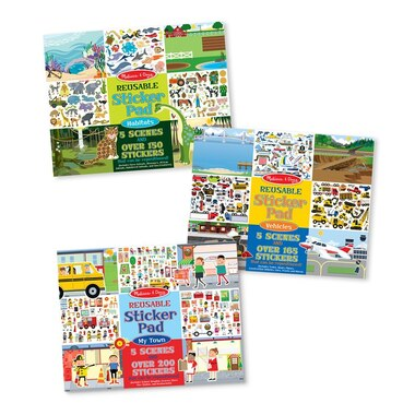 Melissa and Doug Reusable Sticker Pads 3-Pack Habitats, Vehicles, Town
