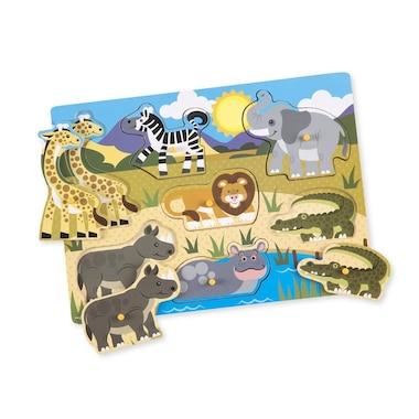 Melissa and Doug Wooden Peg Puzzles 3-Pack World of Animals Pets, Farm, Safari