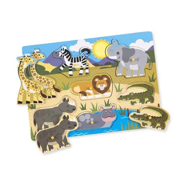 Melissa and Doug Wooden Peg Puzzles 3-Pack - World of Animals Pets / Farm / Safari
