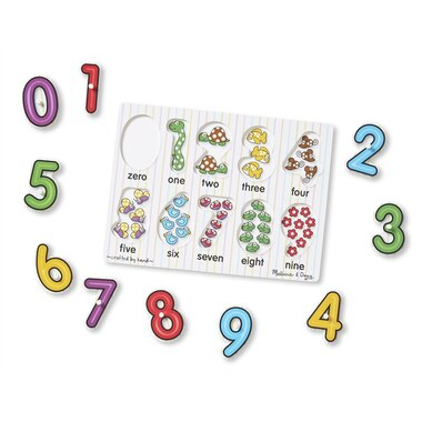 Melissa and Doug Wooden Peg Puzzles 3-Pack Alphabet, Numbers, Vehicles
