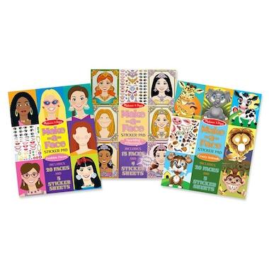 Melissa and Doug Make-a-Face Sticker Pads 3-Pack Fashion Faces, Sparkling Princesses, Crazy Animals
