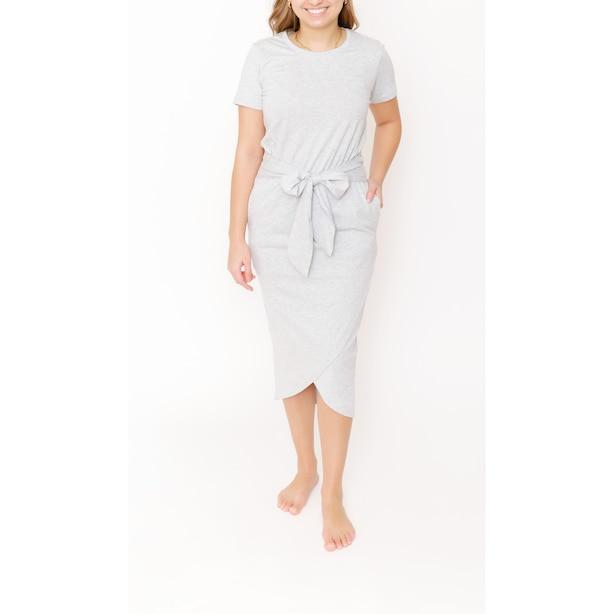 REBECCA WRAP DRESS, HEATHER GREY SMALL