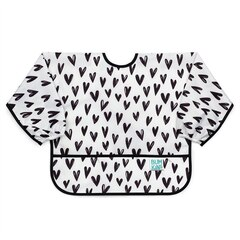 Bumkins Sleeved Bib, Black & White Hearts