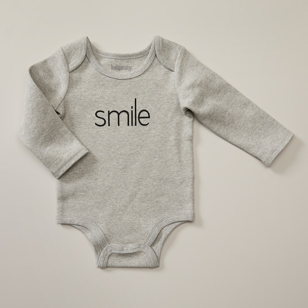 MONOCHROME BODYSUIT, SMILE GREY SIZE 6-12 MONTHS