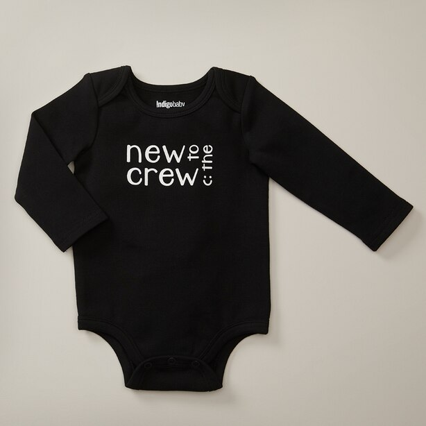 INDIGOBABY MONOCHROME BODYSUIT NEW TO THE CREW BLACK 0-3 MONTHS