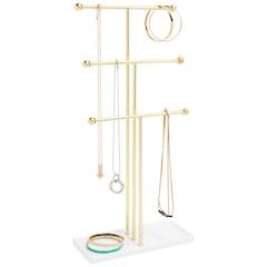Trigem Jewellery Stand - Brass & White
