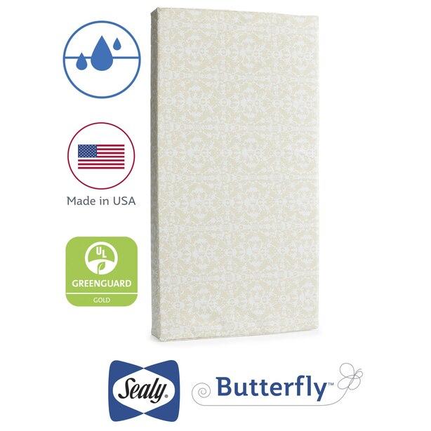 Sealy Butterfly Waterproof Crib Mattress-in-a-Box