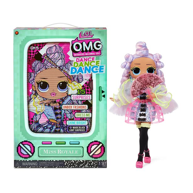 LOL Surprise OMG Dance Dance Dance Miss Royale Fashion Doll with 15 Surprises Including Magic Blacklight, Shoes, Hair Brush, Doll Stand and TV Package - For Girls Ages 4+
