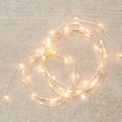 Silver-String LED 30-Light Indoor Strand – Warm White, 5'
